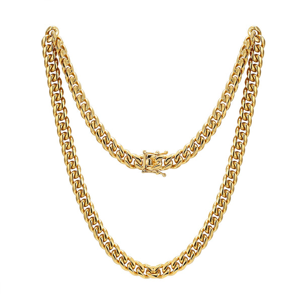 Men's Stainless Steel 8mm Miami Cuban Link 14k Gold Finish Chain 30