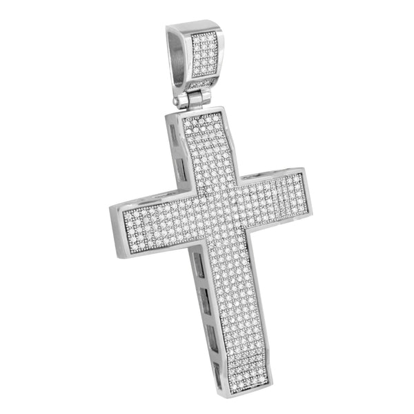 White Gold Cross Pendant 14K On Stainless Steel Lab Create Diamond Mens Designer