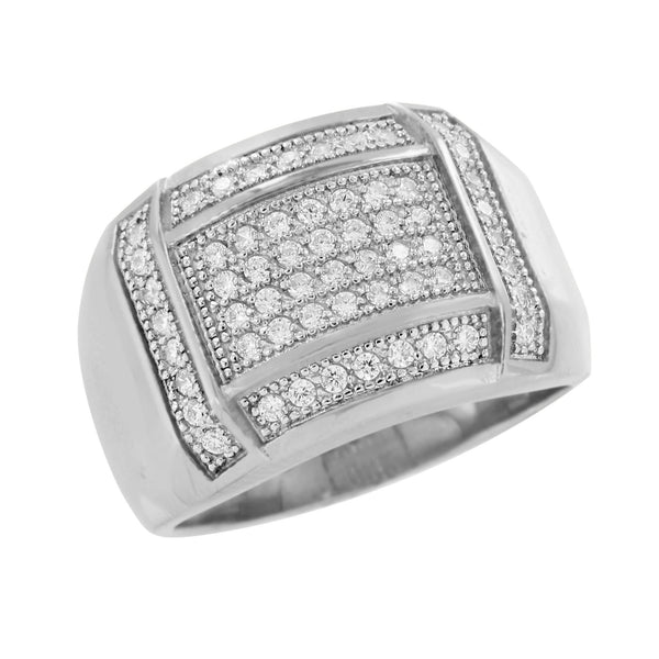 Wedding Engagement Ring Mens Stainless Steel Simulated Diamonds Elegant Pave Set