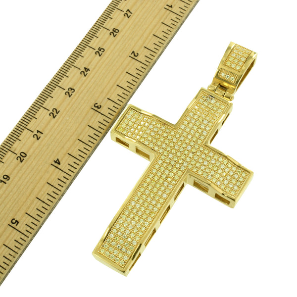Stainless Steel Cross Pendant Canary Lab Create Diamond Franco Chain Gold Finish