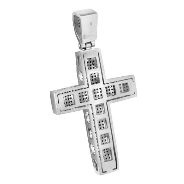 Mens Cross Pendant White Gold Over Stainless Steel Black Lab Create Diamon