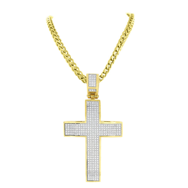 Mens Jesus Cross Pendant Franco Chain Lab Create Diamond Gold On Stainless Steel