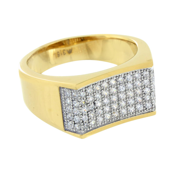 Stainless Steel Mens Ring Gold Finish Simulated Diamonds Engagement Wedding New