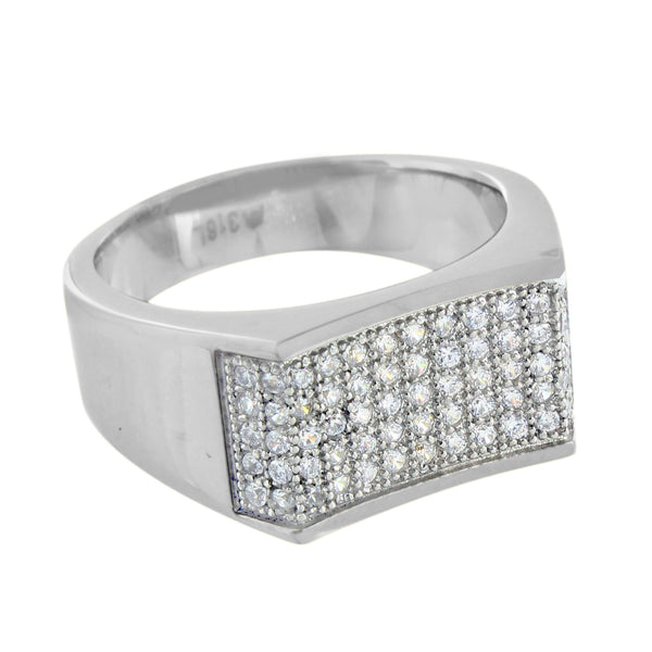 White Stainless Steel Ring Mens Wedding Simulated Diamonds Engagement Casual New