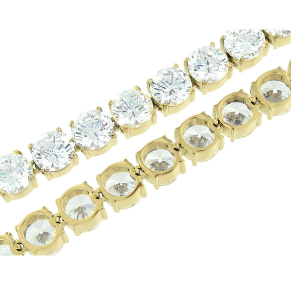 Stainless Steel Tennis Chain Yellow Gold Finish 10 MM Lab Diamonds Solitaire 30