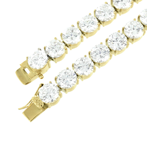 Gold Tone Tennis Necklace Stainless Steel Lab Diamonds 10 MM Thick 26 Inch Heavy