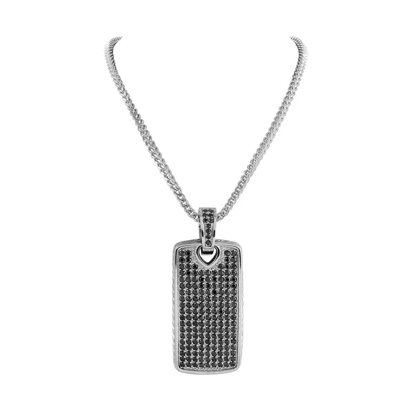 Stainless Steel Dog Tag Pendant Mens Charm Chain Set
