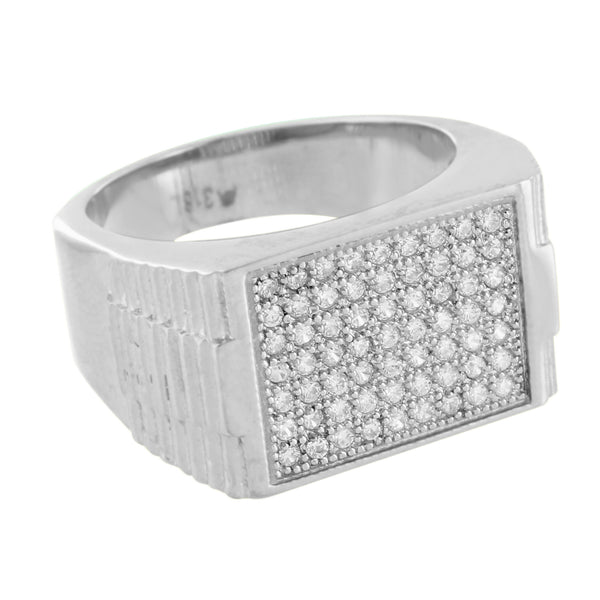 Wedding Ring Mens Simulated Diamonds Pave Set Engagement Stainless Steel Party
