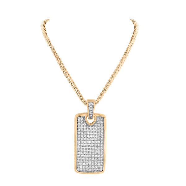 Rose Gold Finish Dog Tag Pendant Stainless Steel Pave Set With Chain