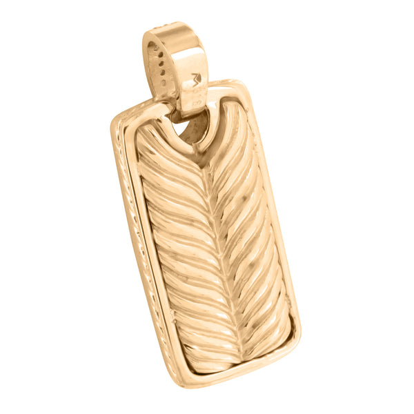 Rose Gold Finish Dog Tag Pendant Stainless Steel Pave Set