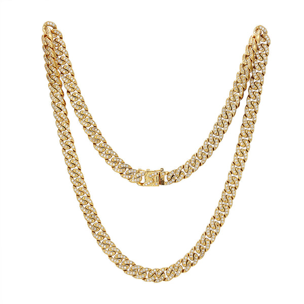 Stainless Steel 14k Gold Finish Iced Out 10mm Miami Cuban Link New unique Lock Designer Chain