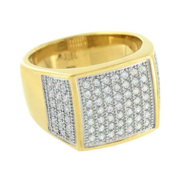 Gold Finish Mens Ring Wedding Engagement Designer Stainless Steel