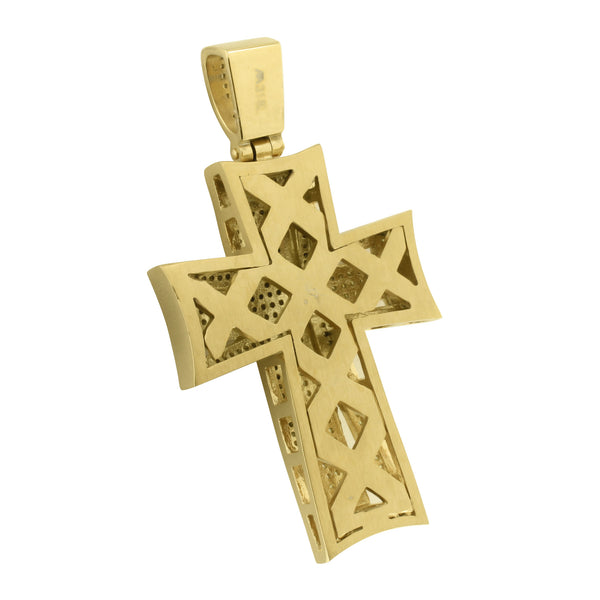 Gold Finish Cross Pendant Stainless Steel Pave Set Chain