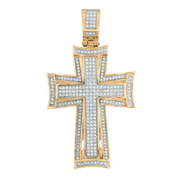 Stainless Steel Cross Pendant Jesus Crucifix Rose Gold Finish With Chain