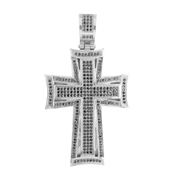 Stainless Steel Cross Pendant Black Stones With Chain