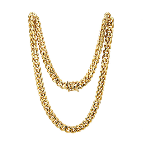 Men's Stainless Steel 12mm Miami Cuban Link 14k Gold Finish Chain 24
