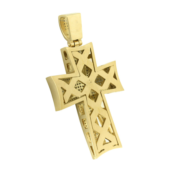 Jesus Cross Design Pendant Gold Over Stainless Steel With Chain