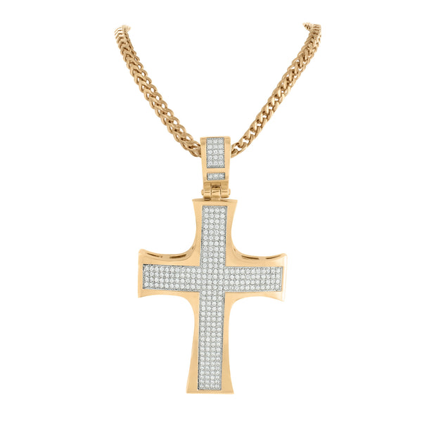 Rose Gold Finish Cross Pendant Stainless Steel Pave Chain Set