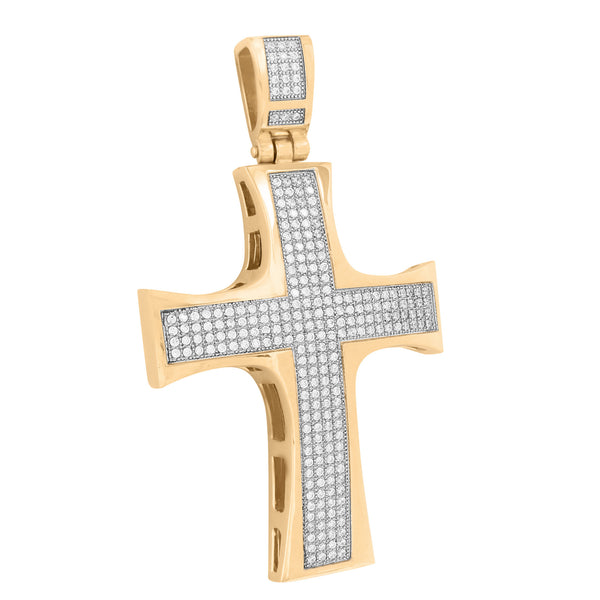 Rose Gold Finish Cross Pendant Stainless Steel Pave Set