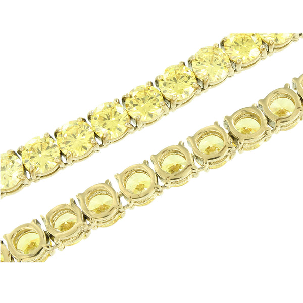 Mens Stainless Steel Necklace Tennis Solitaire Round Cut Canary Lab Diamond 36
