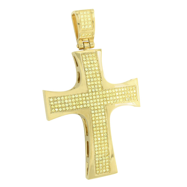 Jesus Cross Pendant Charm Yellow Gold Over Stainless Steel Canary