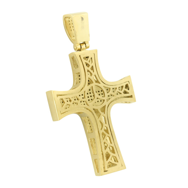 Jesus Cross Pendant Charm Yellow Gold Over Stainless Steel Canary Chain Set