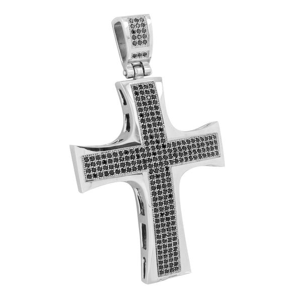 Cross Pendant White Stainless Steel Charm 316 With Chain
