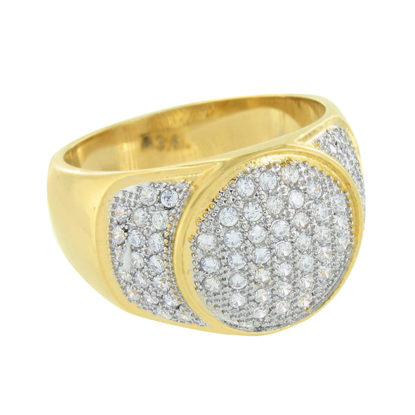 Stainless Steel Round Ring Gold Finish Simulated Diamonds Pave Set Wedding Band