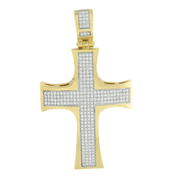Gold Finish Cross Pendant Men Jesus Crucifix Stainless Steel Chain Set