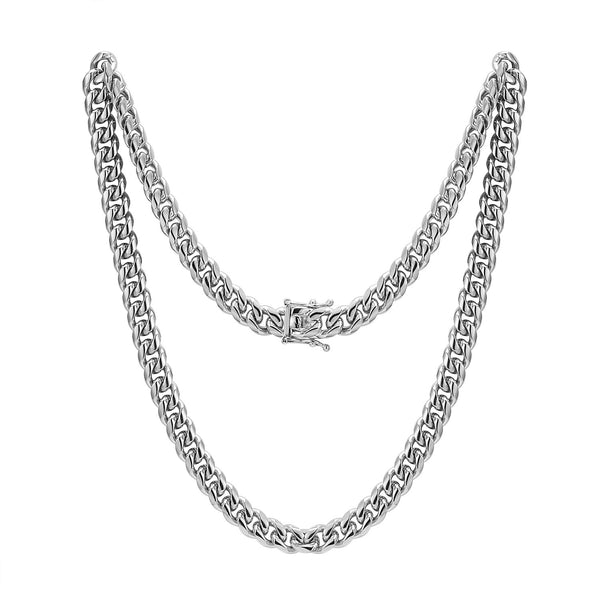 Stainless Steel 8mm Miami Cuban Link 14k White Gold Finish Chain 30