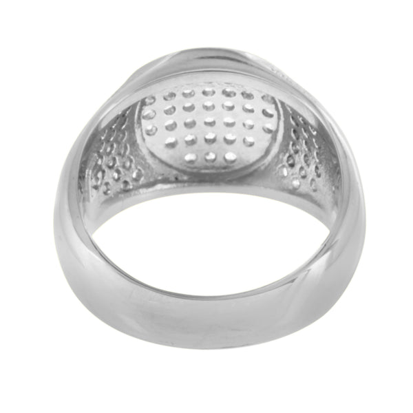 Round Design Ring Unique Mens Wedding Stainless Steel Engagement Cubic Zirconia