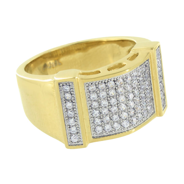 Wedding Engagement Gold Ring Mens Designer Simulated Diamonds Stainless Steel