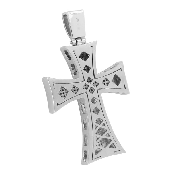 Mens Jesus Cross Pendant Stainless Steel Micro Pave Set Chain