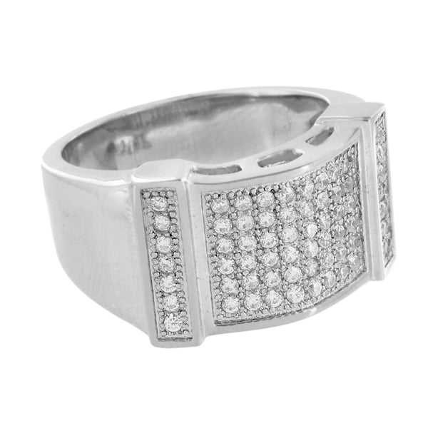 Mens Stainless Steel Ring Wedding Party Wear Simulated Diamonds Engagement Sale