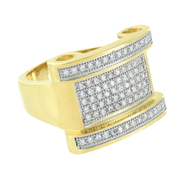 Unique Gold Finish Ring Stainless Steel Simulated Diamonds Wedding Engagement
