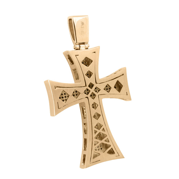 Rose Gold Finish Cross Pendant Pave Set With Chain