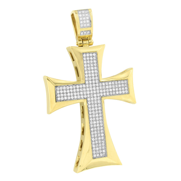 Mens Jesus Cross Pendant Stainless Steel Rapper Wear New With Chain