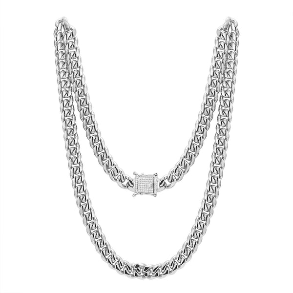 Stainless Steel 12mm Miami Cuban Link 14k White Gold Finish Chain 24