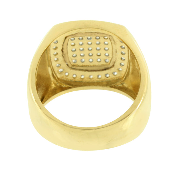 Stainless Steel Mens Ring Simulated Diamonds Gold Finish Wedding Engagement 20mm