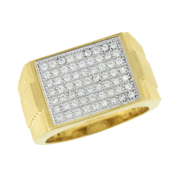 Stainless Steel Mens Ring Gold Finish Simulated Diamonds Pave Set Engagement New