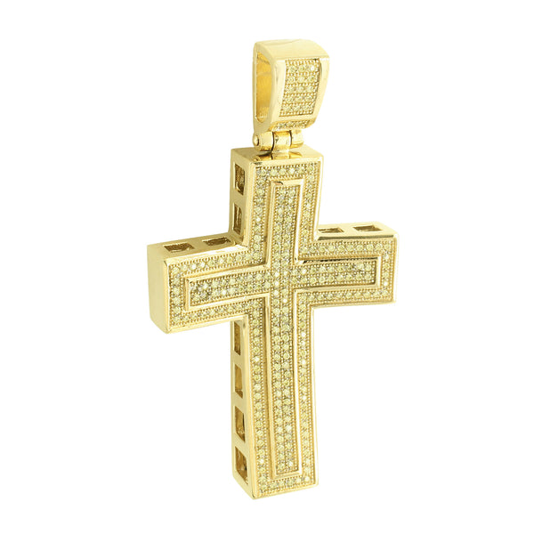 Stainless Steel Concave Cross Pendant Yellow Gold Finish Charm
