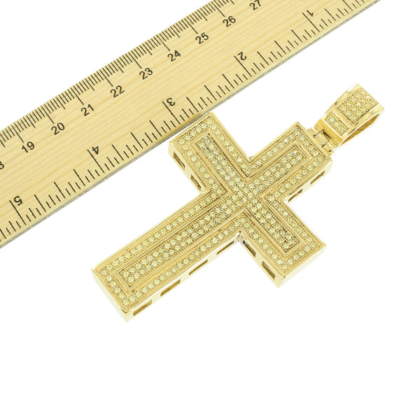 Stainless Steel Concave Cross Pendant Yellow Gold Finish Charm Chain Set