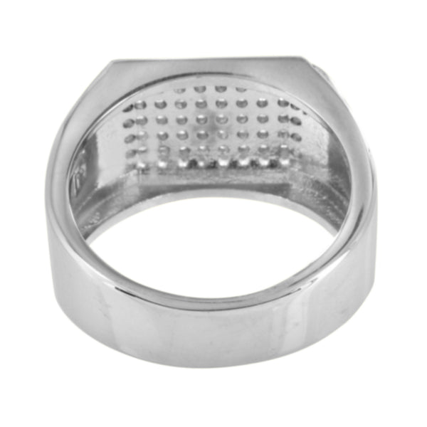 Mens Wedding Ring Engagement Simulated Diamonds Micro Pave Stainless Steel 14 MM