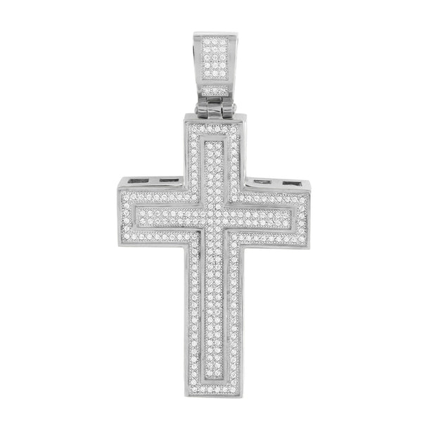 Stainless Steel Cross Pendant Jesus Crucifix Charm With Chain