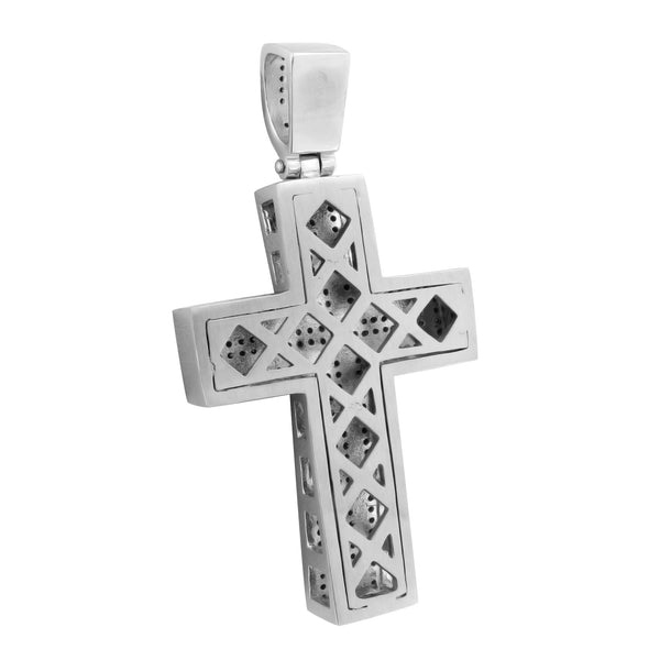 Mens Jesus Cross Pendant Black Gold Finish Chain