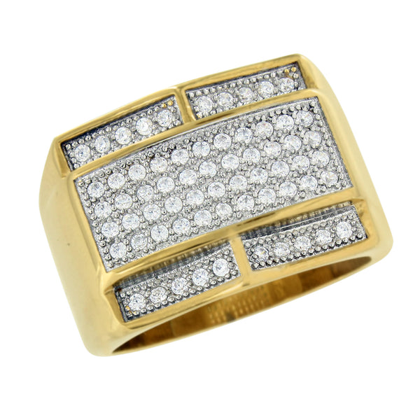 Stainless Steel Mens Ring Gold Finish Simulated Diamonds Wedding Engagement Sale