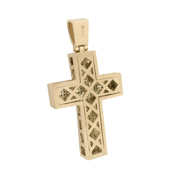 Rose Gold Finish Cross Pendant 3.6 Inch Charm