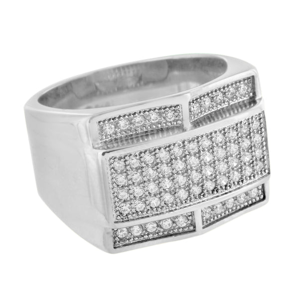 Wedding Engagement Ring Mens White Stainless Steel Simulated Diamonds Pave Set