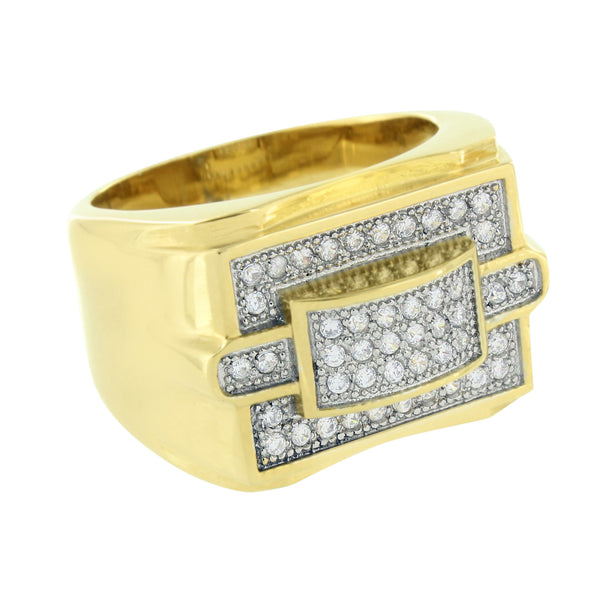 Simulated Diamonds Ring Stainless Steel Gold Finish Wedding Engagement Round Cut