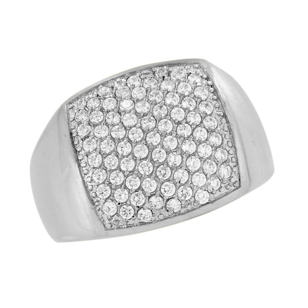 Stainless Steel Mens Ring Simulated Diamonds Micro Pave Wedding Engagement Sale